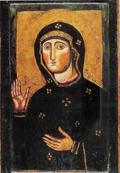 The miraculous icon of Mary venerated in the basilica of Santa Maria in Ara Coeli in Rome. According to tradition it was painted by St. Luke the Evangelist and is therefore considered a true portrait of the Blessed Virgin. |