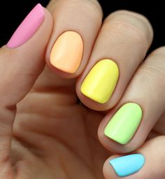 Mani Monday: Neon Rainbow Nail Tutorial - There's a pot of gold at the end of this week's neon rainbow nail tutorial! We've chosen a bright neon color for each nail to a create an eye-catching color spectrum that is ready for some fun in the sun!