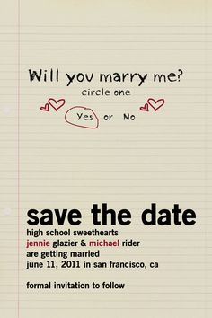 High school sweethearts save the date....love this!