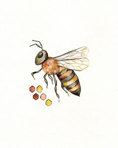 No.2 Bee-lieve/ Bee and Honeycomb Watercolor print/grey and yellow/ black and yellow/ Archival Print