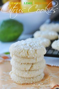 Lemon, Lime and Orange Cookies- chewy, sweet cookies with citrus zest and rolled in sugar #cookies #citrus @shugarysweets