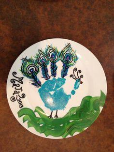 Peacock handprint plate