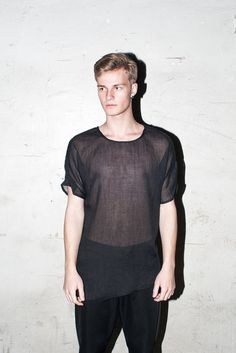 Transparent short sleeved tshirt black by molotovclothing on Etsy.