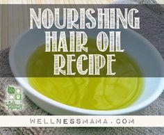 Nourishing Hair Oil Recipe healthi hair, idea, skin care, healthi bodi, hair oil, beauti, nourish hair, oil recip, diy