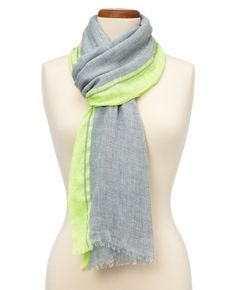 neon stripe chambray scarf