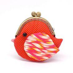 Cute fiery red bird clutch purse by misala