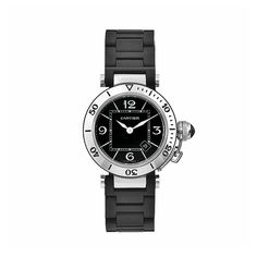 Cartier Women's W3140003 Pasha Stainless-Steel Ceramic Black Dial Watch: Watches
