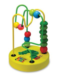 "Mini Roller Coaster by Kids Preferred- Here's a colorful twist on a classic toy. The iconic green, red, blue and yellow from Eric Carle's classic tale are transformed into an activity toy. The sturdy ""rollercoaster"" measures 5.5 inches at its highest peak."