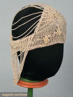 1920s pearl beaded headdress