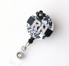 Custom Black RN Blossom Bling  Designer Name Badge by BadgeBlooms, $18.00