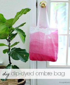 Hi Sugarplum | DIY Dip Dyed Ombre tote bag