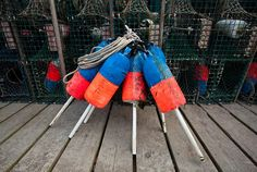 lobster traps and buoys found on a fishing pier in Bass Harbor, Maine, Kurt Budliger