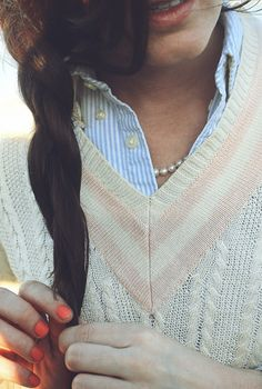 #Cardigan #Striped #Shirt #ColourPop #Nails #Preppy