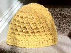 Free Crochet Honeycomb Beanie Pattern.