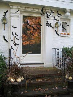 bats flying across door- Halloween decorating