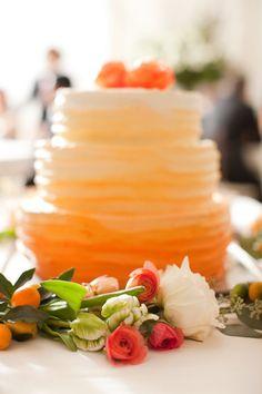 orange colored food, orang ombr, orange weddings, coloured wedding cake, wedding cakes