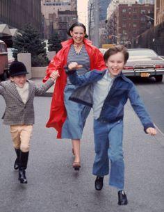 Vanderbilt-- Gloria Vanderbilt runs down the street with her two sons, Anderson and Carter, in New York City, 1976