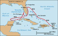 map of Ponce de Leon's voyage to Florida and back