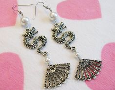 Chinese Dragon Fan Earrings
