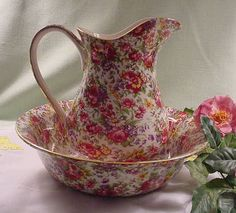 """Royal Winton """"Summertime"""" Chintz Pitcher and Bowl."""