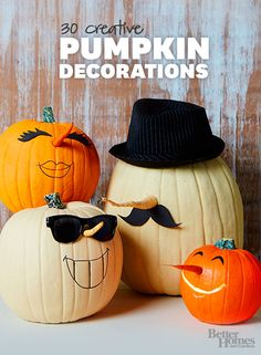 Make your pumpkin display the best on the block with these fun and creative Halloween pumpkin ideas: http://www.bhg.com/halloween/pumpkin-carving/cool-halloween-pumpkins/?socsrc=bhgpin101713pumpkins