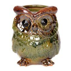 green ceram, owl planter, kirkland, ceramics, planters