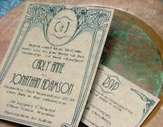 I like the scrolls around the borders. [[ Wedding Invitations Art Deco Nouveau by sweetinvitationco on Etsy, $100.00 ]]