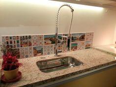 Morar mais Brasília 2013 | Azulejos na área da pia da cozinha #interiordesign #cozinha #torneira #azulejo