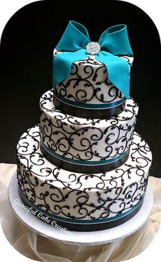 Black and Teal Cake