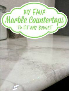 DIY faux marble countertops -- looks like the real thing at a fraction of the price! @Remodelaholic