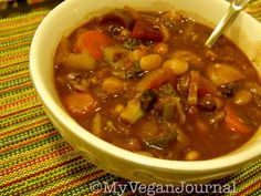 Hearty Homemade Bean & Veggie Soup by #MyVeganJournal. Packed with Protein & Vitamins! Easy & Delicious! Click on photo for details on the MVJ facebook page <3
