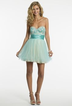 Two-Tone Beaded Tulle Party Prom Dress by Camille La Vie