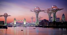 Futuristic lotus-shaped city in the sky.