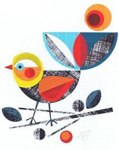 beauti bird, graphic, art, bird prints, bird of paradise, charlie harper, print patterns, birds, early bird