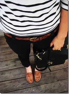 Business casual work outfit: black and white stripe top, black skinnies, brown accents. Good for spring/summer workwear.