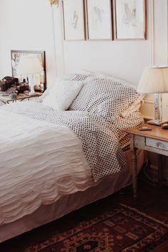 cozy bedroom bedding, design bedroom, bedroom decor, polka dots, first apartment, brooklyn apartment, cozy bedroom, guest rooms, bedroom designs