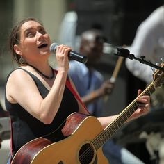 Lois Strachan singing at a live gig for the Inclusive Arts Festival in Cape Town at the end of 2018.