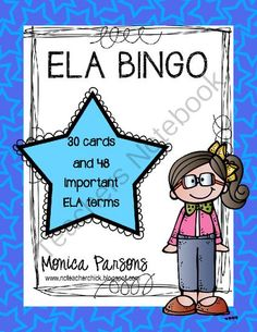 ELA BINGO - Grades 3, 4, and 5 from NCteacherchick on TeachersNotebook.com -  (40 pages)  - ELA BINGO - created for grades 3, 4, and 5 - a fun way to review important ELA vocabulary words