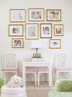 gold framed wall gallery + pink & white fretwork accents