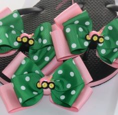 Pink and Green Polka Dot Tractor Flip Flops and Matching Hair Bow Set | Bows for Me