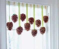 window dressings, valanc, kitchen windows, craft projects, craft blogs, kid crafts, pine cone crafts, christma, the holiday