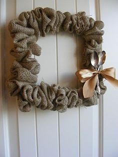 burlap wreath with silver spoons for pantry door