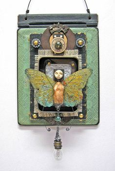 """⌼ Artistic Assemblages ⌼  Mixed Media & Collage Art - I""""Flutter"""" mixed-media assemblage by Indiandollarworks."""