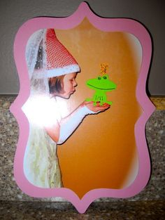 Princess & the Frog picture on invites. The frog is a paper cut out added to the picture.