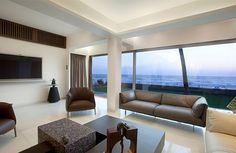 Living Space, Glass, Walls, Apartment by the Beach in Mumbai, India by ZZ Architects