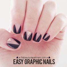 Graphic Black and Gold Nails