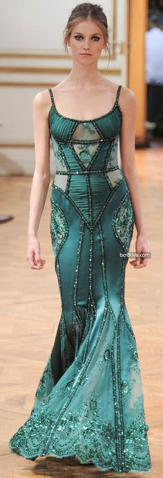 fashion, winter 201314, murad fall, teal zuhair murad dress, teal haute couture gowns