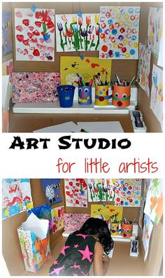 Easy to create and fun art studio in a box for the little ones.#artprojects from www.blogmemom.com
