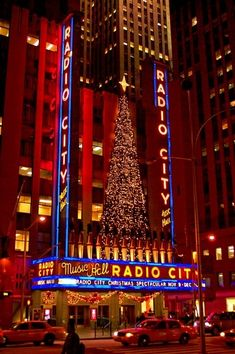Radio City Music Hall decorated for the Holidays