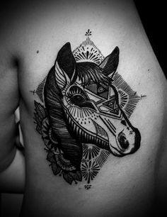 #Horse head tattoo. #tattoo #tattoos #ink  #NoelitoFlow  Instagram.com/lovinflow    Please Follow and Repin! Thanx!! =)
